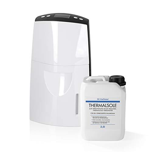 DS VieGlobal Thermalsole-Verdunster (Luftbefeuchter) Set inkl. 2,5l Thermalsole | Salz-Sole beugt Atemwegserkrankungen vor und regt die Durchblutung der Lunge an | Angenehmes Raumklima durch Salzionen