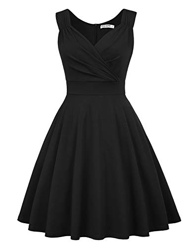 GRACE KARIN Abito Vintage per Donna Senza Maniche Scollo a V Classico Rockabilly Cocktail Party 3XL CL010698-1