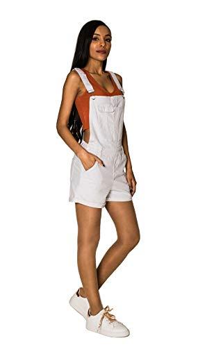 EGOMAXX Damen Latz Shorts Kurze Latzhose Skinny Jeans Hot Pants, Farben:Weiß, Größe:36