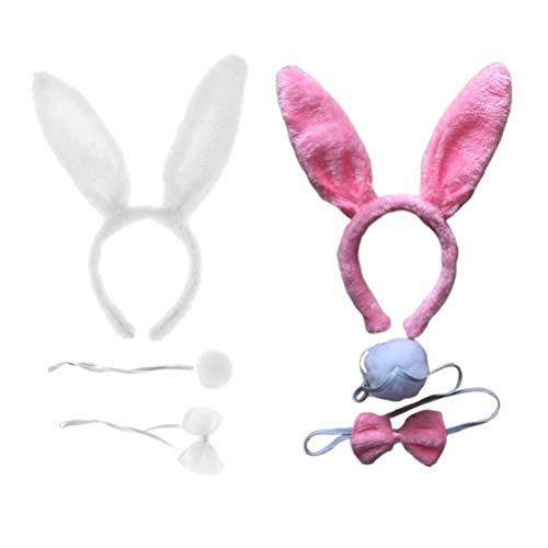 VILLCASE 2 Juegos de Disfraz de Conejo Conjunto de Diadema de Animal Conjunto de Bowknot de Cola Accesorios de Fotografa de Juego de rol de Conejo para Nios Adultos