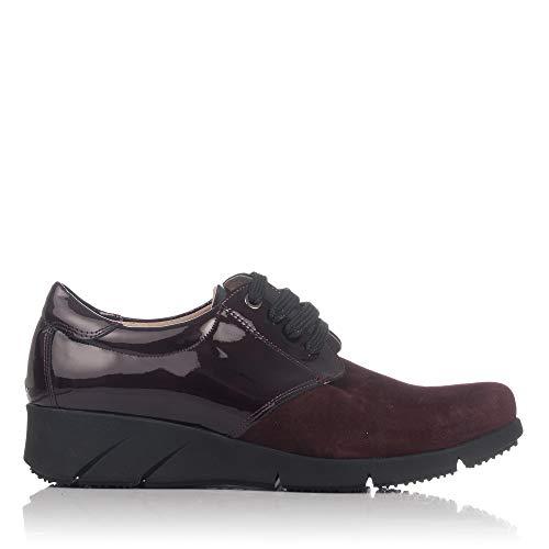LINCE 88759 Zapato Cordones Piel Combi Mujer Burdeos