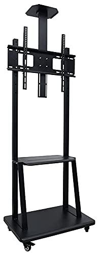 Soporte de TV ajustable para TV móvil con ruedas para televisores de 32 a 75 pulgadas | Anti Tip & Ultra estable carrito de TV (color negro)