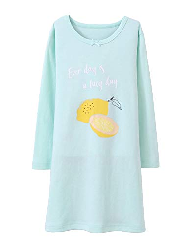 Nachthemden Für Mädchen Lange Ärmel Kinder Schlafanzüge Für 3-12 Jahre Grün 140