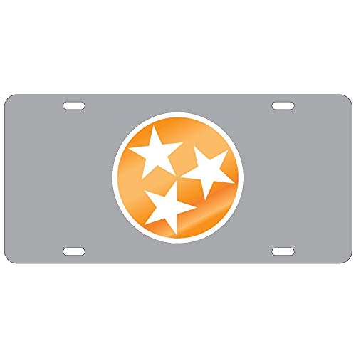 Fhdang Decor Tennessee Volunteers Smokey Grey Tri-Star License Plate Aluminum License Plate, Front License Plate, Vanity Tag 4 Holes Auto Tag Car Accessories 6' X 12'
