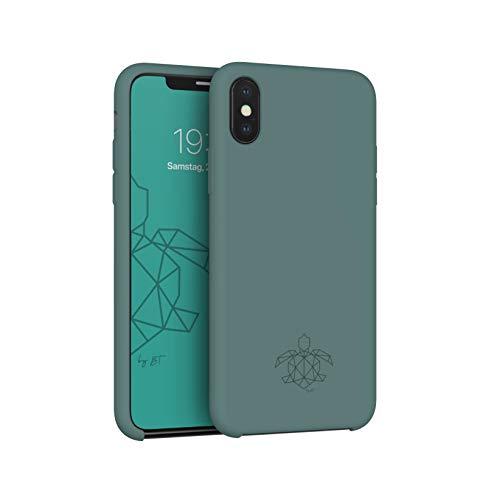 turtleandcase Hülle Kompatibel mit iPhone X & kostenlosem Panzerglas, Silikon Handyhülle, Dünne Schutzcase & Stoßfest für iPhone X 5,8 Zoll (Piniengrün)