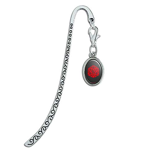 Dungeons & Dragons d20 Dice Metal Bookmark Page Marker with Oval Charm