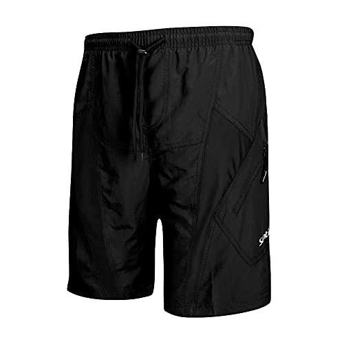Santic Cycling Shorts Mens Padded Mountain Bike Shorts Mens MTB Shorts Quick Dry Workout Shorts 2 Zipper Pockets Outdoor Cycling Running Bicycle Training,black M