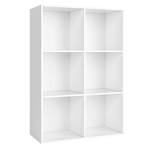 Estantería Librería con 6 Cubos Estantería para Libros Mueble Almacenamiento de Madera Estantería Almacenaje Salón Blanco 65.5x29.5x97cm