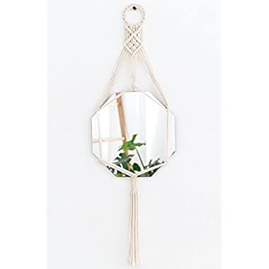 Mkono Hanging Wall Mirror with Macrame Hanger Home Decor