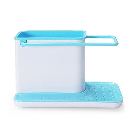 MONTA Estante de almacenamiento soporte de esponja escurridor fregadero caja organizador de cocina escurridor estante de almacenamiento de platos soportes ordenados utensilios toallero