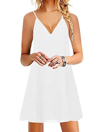 YOINS Damen Kleider Sommer Tshirtkleid für Damen Kleider Knielang Tunika Winterkleid V-Ausschnitt Elegant Brautkleid,Weiß,S