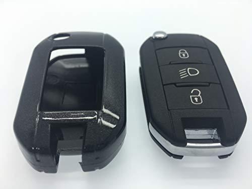 100% en ABS de haute qualité Coque en plastique rigide avec finition brillante Porte-clés Coque de protection pour NEUF Peugeot 2013 2014 2015 2016 208 508 modèles 2008 (Noir)