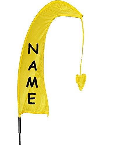 alles-meine.de GmbH 1 Stück _ XL - 1 m - Windfahne / Balifahne -  GELB  - incl. Name - mit Fahnenstange - UV-widerstandsfähig und wetterfest - Windrichtungsanzeige - aus Nylon / Flagge ..