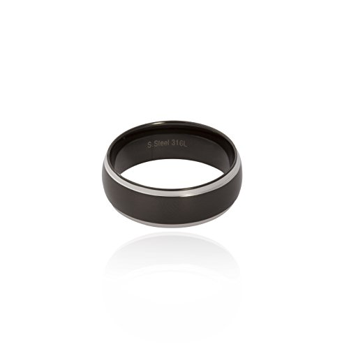 Funkyrox - Anillo de boda para hombre, acero inoxidable, color negro