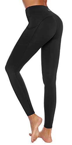 AUU High Waist Yoga Leggings with 2 Pockets, Tummy Control Workout Running 4 Way Stretch...