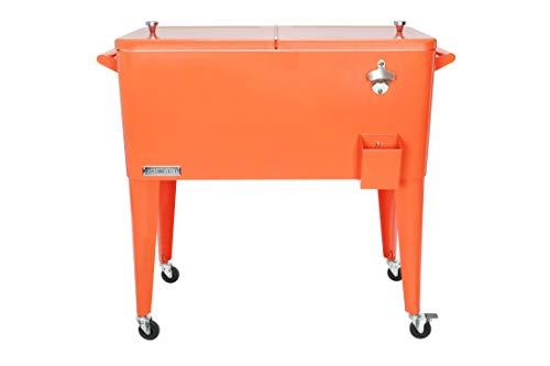 Permasteel PS-203-ORANGE-AM 80 Quart Portable Rolling Patio Cooler,...