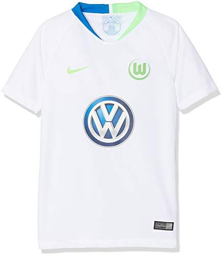 Nike Kinder VFL Wolfsburg Breathe Stadium Away T-Shirt, White/Green Strike, S
