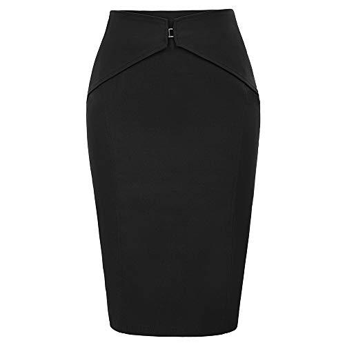 Damen Röcke High Stretchy Bodycon Elegant Bleistiftrock Elastisch Hips-Wrapped Rock XL Schwarz CLE02073-1