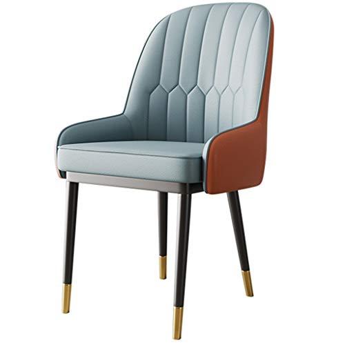 Middeleeuws eetkamerstoel met lederen kussen en metalen poten, moderne bureaustoel klassieke zijstoel voor keuken, slaapkamer, houd tot 550 Ib vast