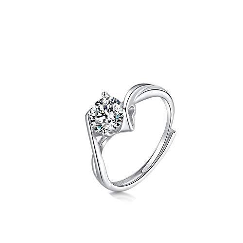 Anillo de compromiso de plata de ley con diamantes Moissan, anillo de boda simple para mujer de 1 quilate de diamante