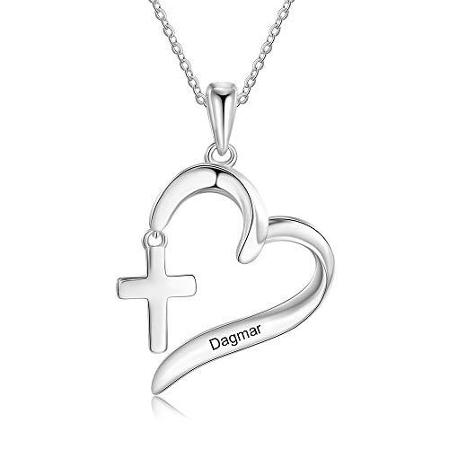Collar con Nombre Personalizado Colgante con Cruz de Plata Collar para Mujer Madre e Hija Regalo para el Día de la Madre San Valentín Navidad