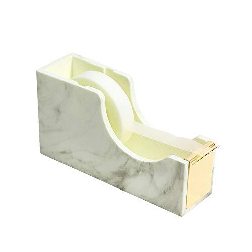 MultiBey Desktop Tape Dispenser Gold Rose Gold Metal Core Marble White Texture Office Supplies 1' (Gold)
