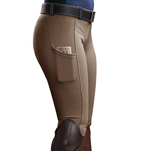 Heflashor Pantalon d'équitation Femme Taille Haute Pantalons Culotte d'équitation Leggings de Yoga Collants Slim Fit Trousers Élastique (Kaki,M)