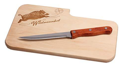 Brotzeitbrett mit Messer I Vesperbrett für Jäger Waidmannsheil I 25,5x14,5x1,3cm