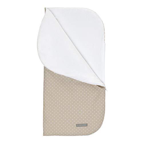 Sacomanta oder Schlafsack für die Babywanne oder für das Kinderbett. Extra großer Schlafsack 93x93 als gesteppte Winterdecke mit Reißverschluss Mini-Sterne, beige