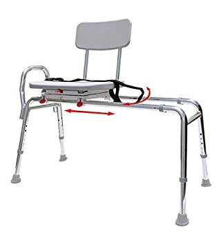 Swiveling and Sliding Bathtub Transfer Bench and Shower Chair  Reg   77662  Swiveling and Sliding system Multiple Safety Features Tool-Less Assembly Height Adjustable and High Weight Capacity.