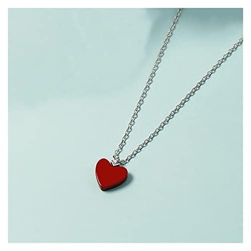 ZhaoZZ Collares Mujer Joven, Cornalina Colgante, Pequeña Cadena De Corazón Rojo Simple, Piedra De Piedra De Ónix, Pendiente En Forma De Corazón, Collar De Cadena Cruzada De Piedra Roja Minimalista Hec