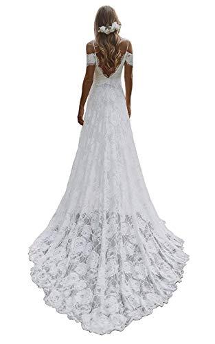 Off the Shoulder Open Back Lace Wedding Dress