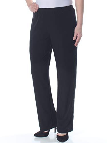 Notations Women's Petite Size Straight Leg Short Length Solid Pant, Black, PS