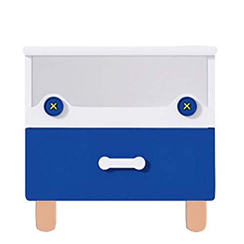 xinbao Mesita de Noche Madera Maciza Dibujos Animados Soporte de Carga Fuerte Fácil de Limpiar Fácil de Instalar Mesa de Almacenamiento Hogar Azul Comercial 19.69 * 18.9 Pulgadas
