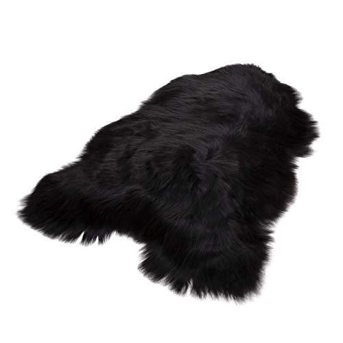Schafshaut Store: 100% Bio Schaffell/Lammfell. Weich und Flauschig Ideal für das Wohnzimmer, unter dem Kamin, Schlafzimmer. (Schwarz Lang, XXL: 120-130 cm)