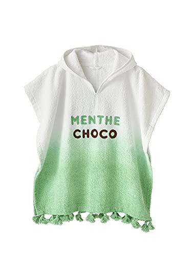 """Vertbaudet Kinder Bade-Poncho """"Ice Cream"""" weiß/grün farbverlauf 98/116"""