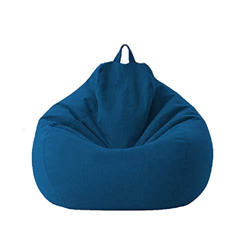 Puf grande y pequeño para sofás de cama, sin relleno, tela de lino, puf, puf, puf, sofá tatami, puf, salón, puf (azul, 70 x 80 cm)