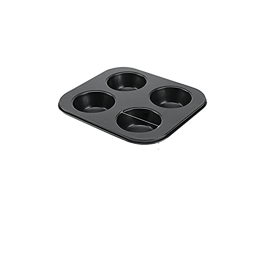 MEYYY Molde para magdalenas, 4 tazas, grande, acero al carbono, para magdalenas, 6,9 cm, 4 tazas, color negro