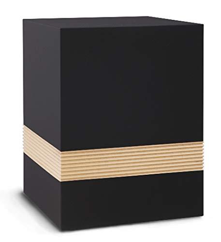 The Coffin Company Caisse à cendres funéraire en bois pour sarcophage - Fabriqué sur commande - Velours noir ébène avec bande rainurée or antique