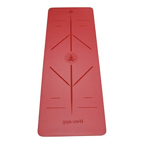 Yoga World Alignment - Esterilla de yoga antideslizante, parte inferior de goma TPE – grueso y duradero para pilates y entrenamiento en casa – Cojín ecológico biodegradable – 182,88 x 66 cm (rojo)