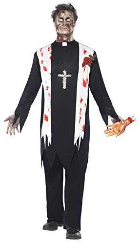 Smiffys Adult Men's Zombie Priest Costume, Blooded Top, Latex Wound, Collar and Trousers, Zombie Alley, Halloween