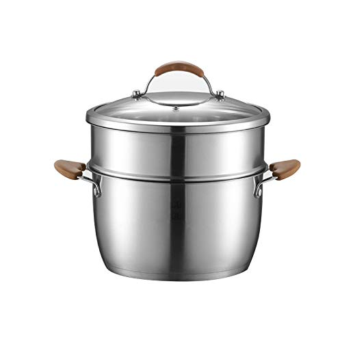 2 Tier Stainless Steel Stockpot with Steamer Insert and Glass Lid & Steam Grid,Soup Pot Multi-Layer Boiler Steaming, Food Steamer Sauce pot with Glass Lid for Kitchen (silver)