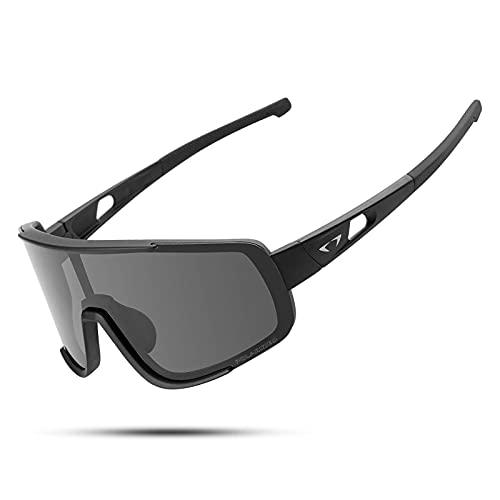 Gafas de sol deportivas polarizadas UV400 con marco TR90 para hombres y mujeres, diseño retro, gran vista MTB Road Bike Gafas de béisbol Running Ciclismo Gafas (negro gris)