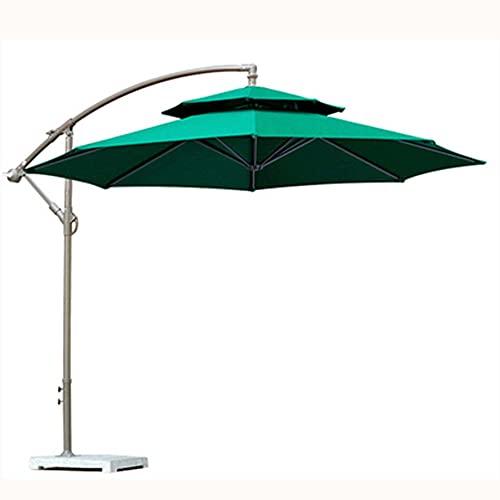 Paraguas grande de doble techo para exteriores, toldo de paraguas colgante de plátano con mecanismo de manivela, para espacios residenciales y comerciales/Verde / 270×245cm