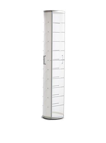 EMPORIUM Scarpiera in Polipropilene Bianco Perla, Particolari in Alluminio anodizzato, Base e Top in Metallo Verniciato Colore Bianco. Contiene 11 Paia di Scarpe da Uomo.
