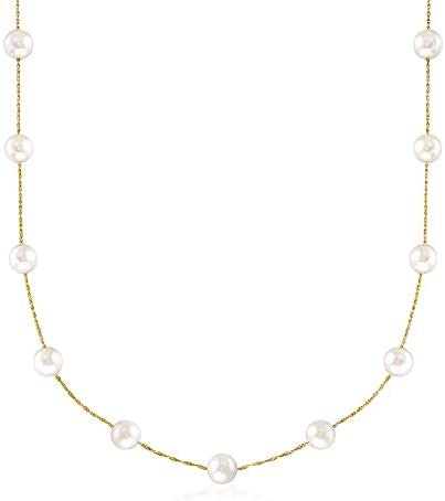 Ross Simons 6 6 5mm Cultured Pearl Station Necklace in 14kt Yellow Gold 18 inches product image