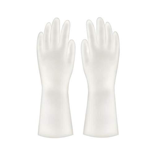 Mojin - Guantes de nitrilo para lavandería (impermeables, plástico), color blanco, S 1