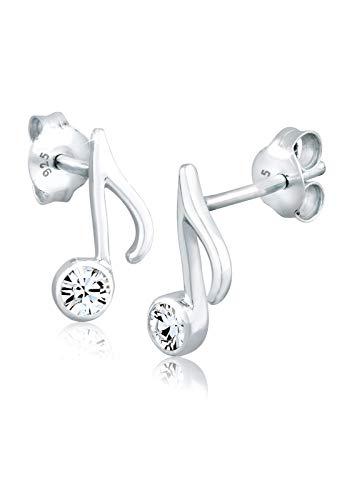 Elli Pendientes Nota Musical con Cristales en plata de ley 925
