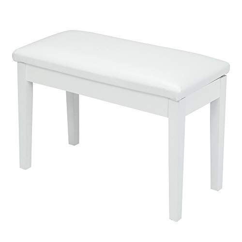 Fantastic Deal! SSLine White Duet Piano Bench Wooden Keyboard Benches with Storage and Faux Leather ...