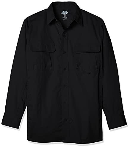 Dickies Men's Long Sleeve Ventilated Ripstop Tactical Shirt, Black, S